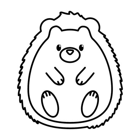 cute hedgehog animal on white background thick line
