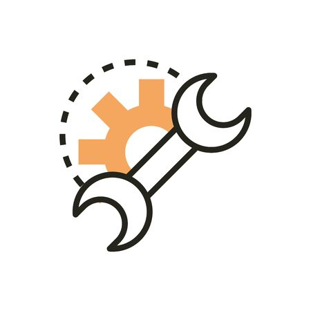 support repair web development icon line and fill Illustration