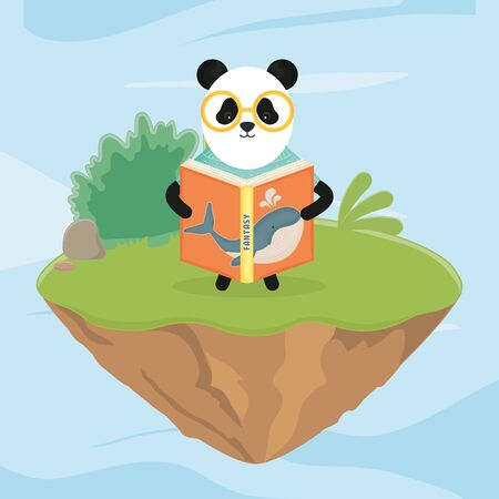 panda with glasses reading a book fantasy fairy tale