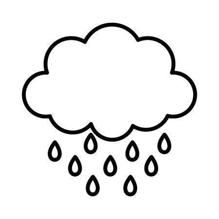 storm cloud rain drops weather design icon thick line