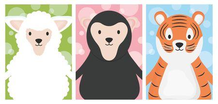 cute animals sheep tiger and sloth bear cartoon banner