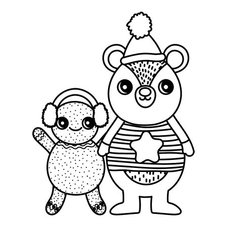 cute bear and gingerbread man with hat merry christmas thick line Ilustracja