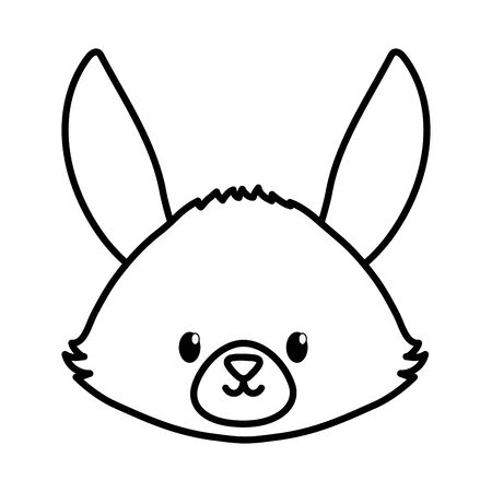 cute rabbit head animal on white background thick line