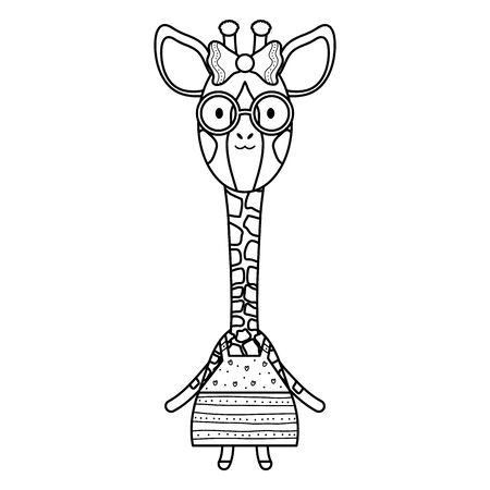 cute female giraffe childish character Çizim