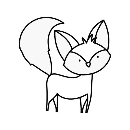 cute fox with big tail standing on white background thick line Ilustracja