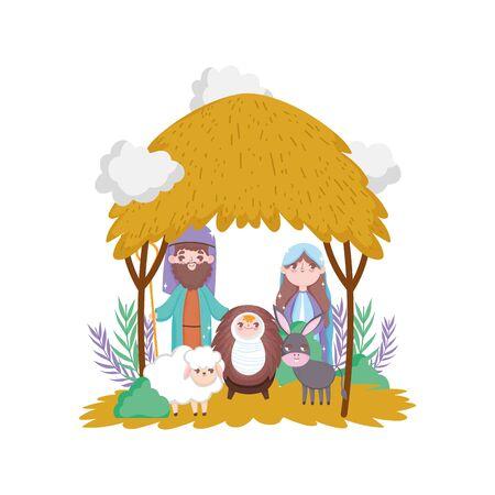 sacred family sheep and donkey manger nativity, merry christmas