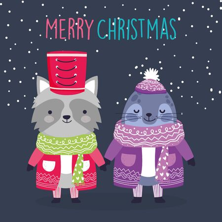 merry christmas celebration cute raccoon and monk seal with sweater and scarf snow decoration Stock Illustratie