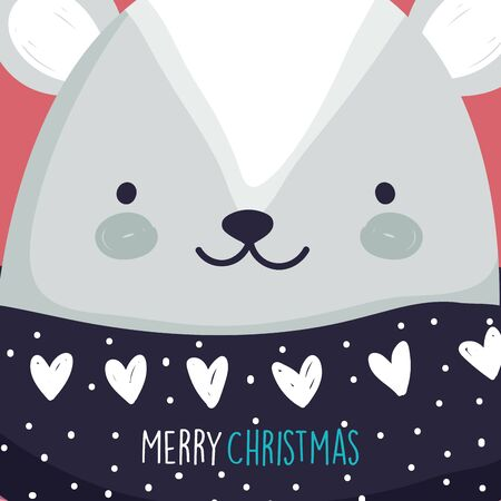 merry christmas celebration cute bear head with sweater