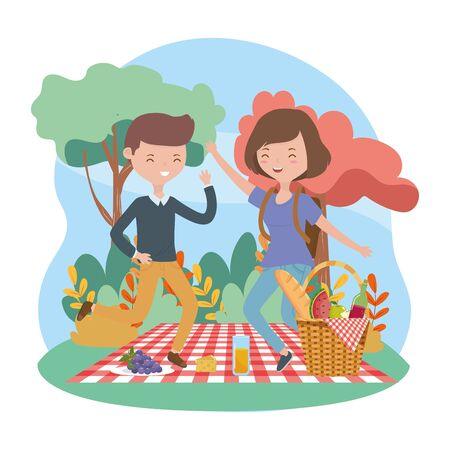 happy man and woman food picnic blanket nature landscape