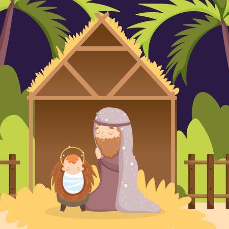 joseph with baby jesus hut manger nativity, merry christmas