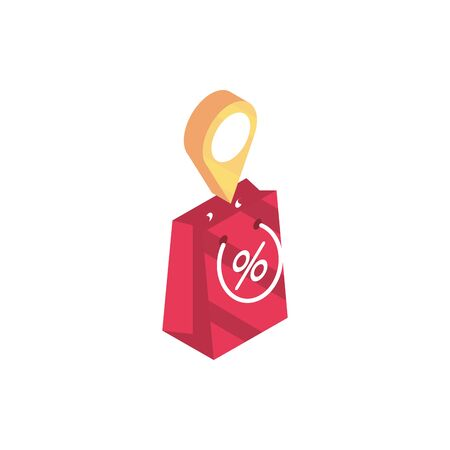 paper bag offer location pin online shopping isometric icon