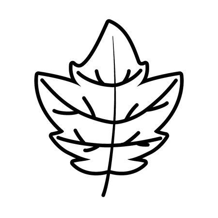 natural leaf foliage autumn on white background thick line Ilustracja