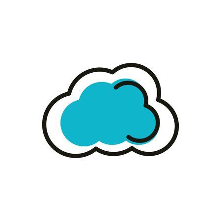 cloud computing social media icon line and fill Illusztráció