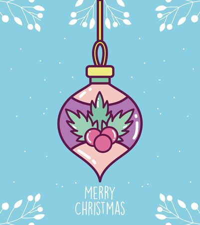 merry christmas celebration decorative ball with flower Çizim