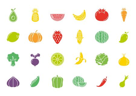 fruits and vegetables fresh icons set flat design vector illustration