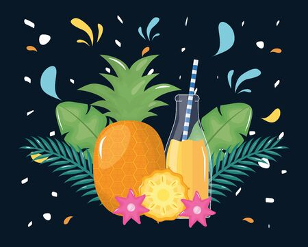 fresh pineapple juice fruit in botttle with straw in floral decoration vector illustration Illusztráció