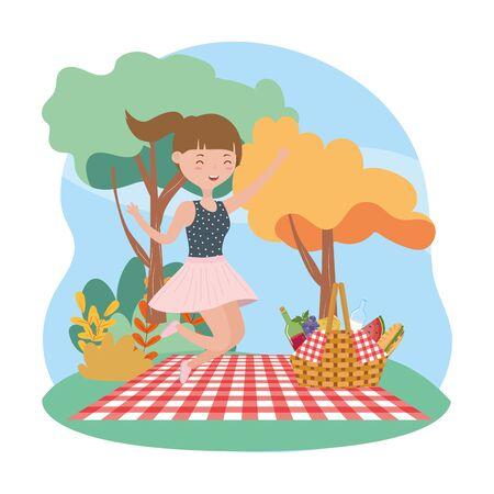 happy woman basket blanket picnic nature vector illustration