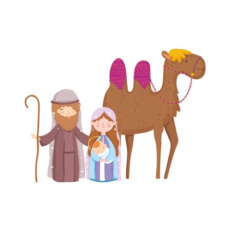 mary joseph and baby jesus with camel nativity, merry christmas