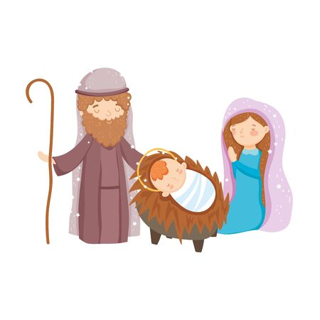 mary joseph and baby manger nativity, merry christmas vector illustration