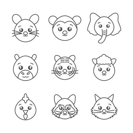 cute animals head cartoon icons set line style