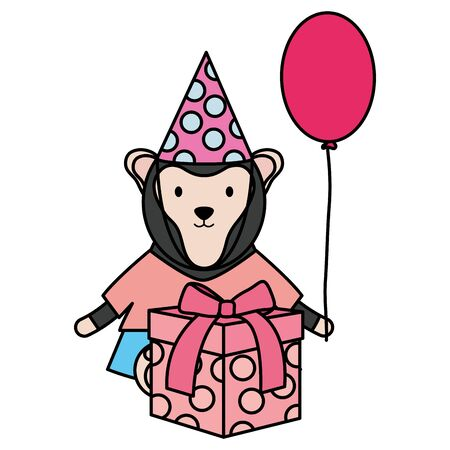 cute monkey with balloon helium and gift in birthday party Çizim