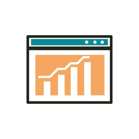 data analysis web development icon line and fill