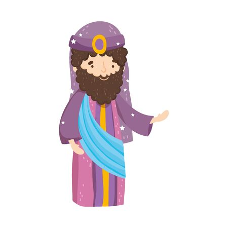 wise king with crown manger nativity, merry christmas vector illustration 스톡 콘텐츠 - 133720980