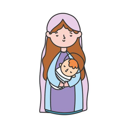 mary with baby in arms manger nativity, merry christmas vector illustration Illusztráció