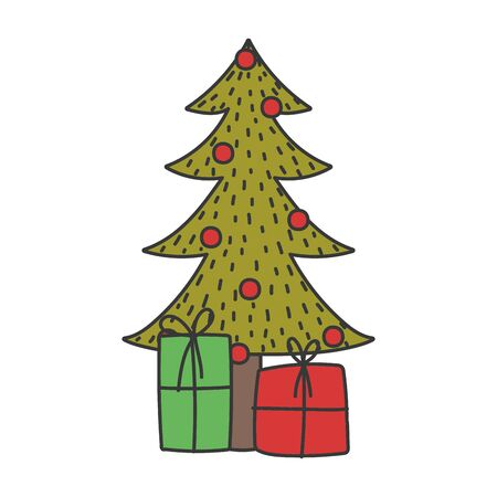 merry christmas tree with balls and gift boxes celebration vector illustration