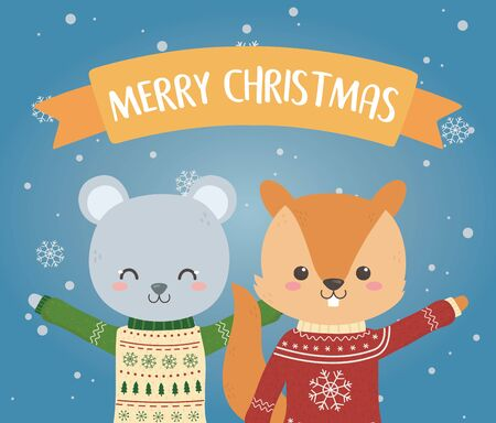 merry christmas celebration bear and squirrel with ugly sweater snowflakes decoration Stok Fotoğraf - 133704220