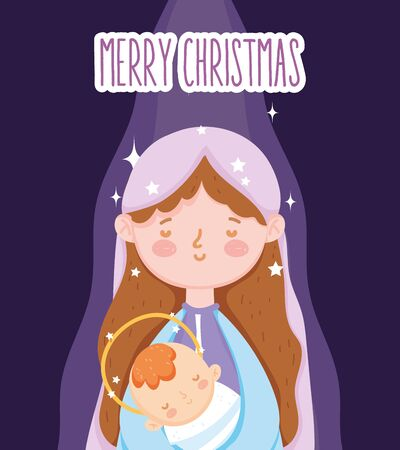 mary with baby jesus manger nativity, merry christmas vector illustration