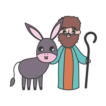 joseph and donkey manger nativity, merry christmas vector illustration Çizim
