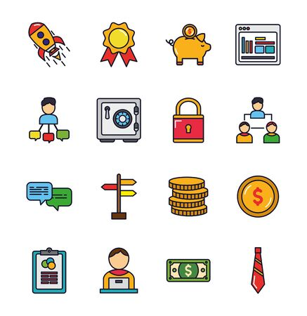 business startup success icons set vector illustration