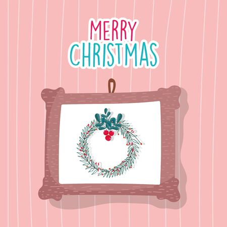 merry christmas celebration hanging frame wreath decoration wall vector illustration 向量圖像