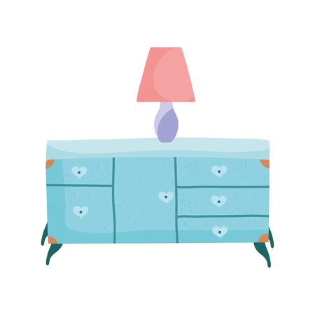 wooden table drawers furniture and lamp icon vector illustration