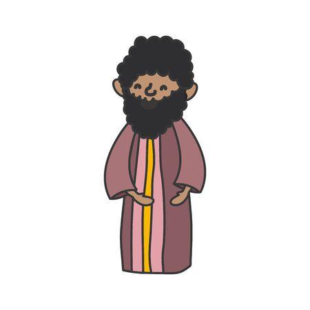 wise king manger nativity, merry christmas vector illustration