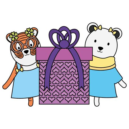 cute polar bear and tiger with gift in birthday party vector illustration design 일러스트