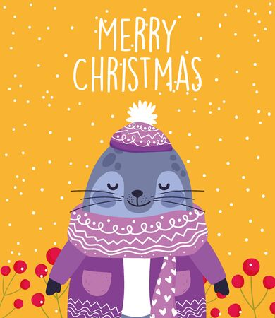 merry christmas celebration cute monk seal wearing sweater and hat vector illustration