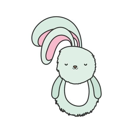 fluffy rabbit adorable toy icon on white background vector illustration