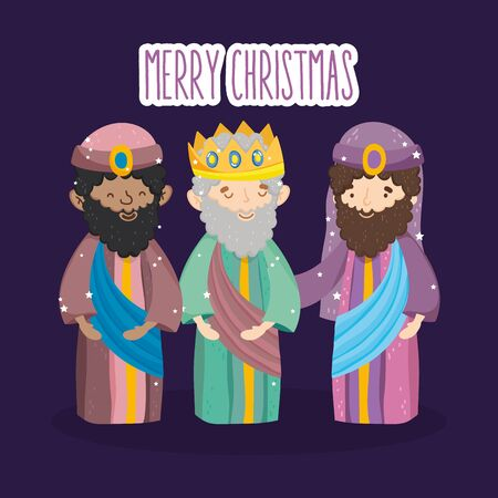 three wise kings characters manger nativity, merry christmas 스톡 콘텐츠 - 133787994