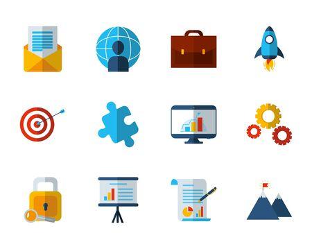 business work success finance icons set vector illustration Ilustrace