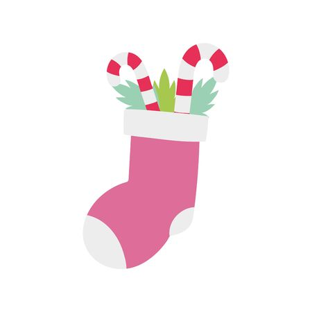 merry christmas celebration sock and candy stickes peppermint vector illustration Stok Fotoğraf - 133703556