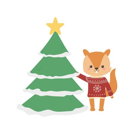 merry christmas celebration squirrel with sweater and tree vector illustration