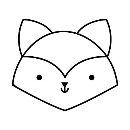 little fox head animal cartoon icon vector illustration thick line Stok Fotoğraf - 133703564
