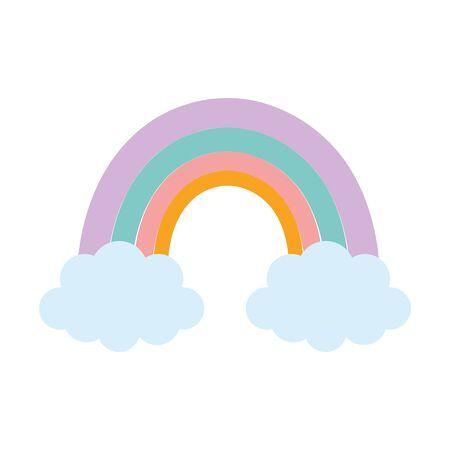 rainbow clouds season nature cartoon vector illustration