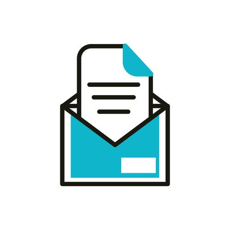 email letter social media icon line and fill vector illustration Illusztráció