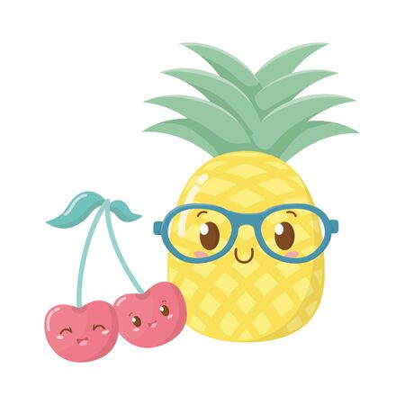 delicious tasty sweet fruits cartoon vector illustration graphic design