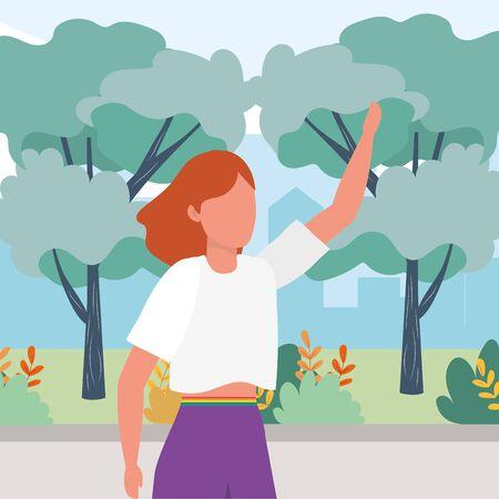 causal people woman raised hand outdoor scene cartoon vector illustration graphic design
