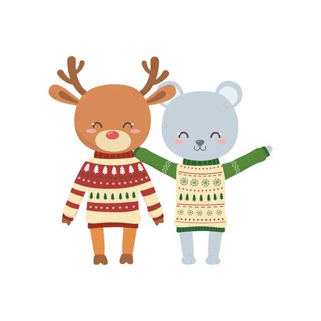 merry christmas celebration cute bear and deer with sweater decoration vector illustration Stok Fotoğraf - 133703591