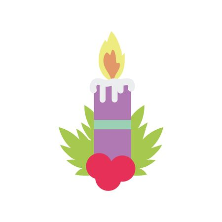 merry christmas celebration burning candle holly berry branches vector illustration